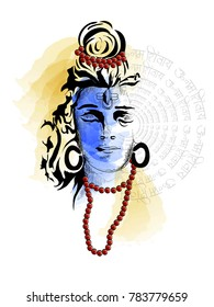 Maha Shivratri. Hand Drawn Sketch beautiful  Background.