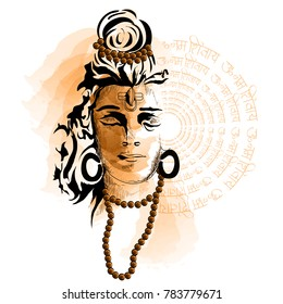 Maha Shivratri. Hand Drawn Sketch beautiful  Background.