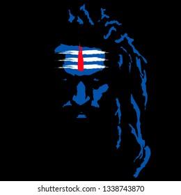 Mahadev blue with red tilak vector face design.