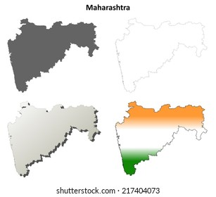 Maharashtra blank detailed outline map set - vector version