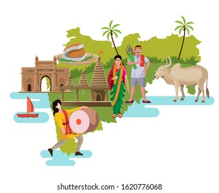 maharashtra culture with map vector illustration