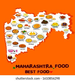 Maharashtra Food or Marathi food Vector in Maharashtra Map