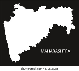 Maharashtra India Map black inverted silhouette