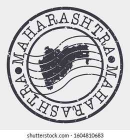 Maharashtra India Stamp Postal. Map Silhouette Seal. Passport Round Design. Vector Icon. Design Retro Travel.