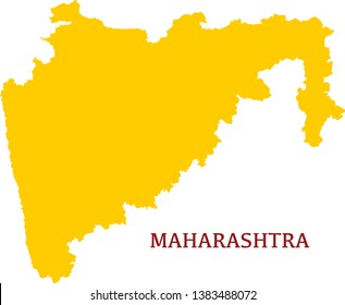 Maharashtra, India, vector map. High detailed  illustration. - Vector