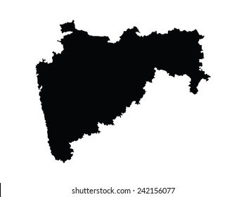 Maharashtra, India, vector map isolated on white background. High detailed silhouette illustration.