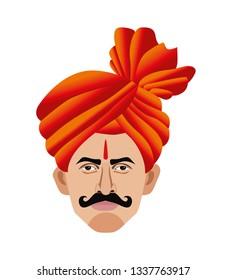 Maharashtra  man with feta and tilak close up illustration