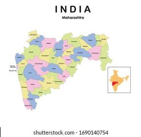 Maharashtra map 2019. new map of Maharashtra. districts in Maharashtra.