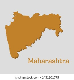 Maharashtra Map Flat Vector Design State of india