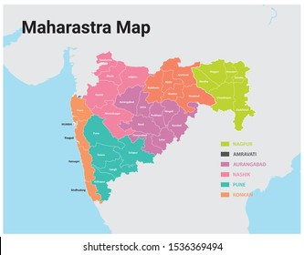 Maharashtra map vector -District wise