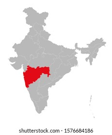 Maharashtra marked red on india map vector illustration. Light gray background. Perfect for business concepts, backdrop, backgrounds, label, sticker, chart etc.
