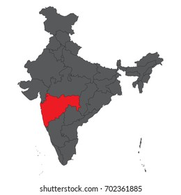 Maharashtra red on gray India map vector