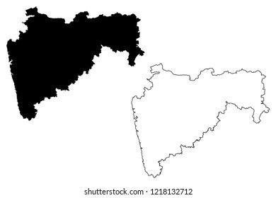Maharashtra (States and union territories of India, Federated states, Republic of India) map vector illustration, scribble sketch Maharashtra (MH) state map