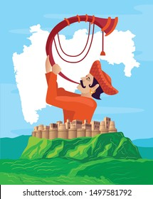 maharashtra Tutari man with fort and map vector illustration