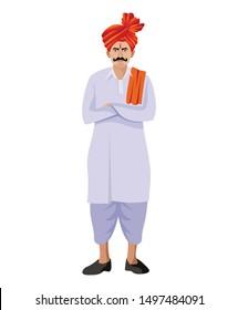 maharastrian man with feta and tilak standing