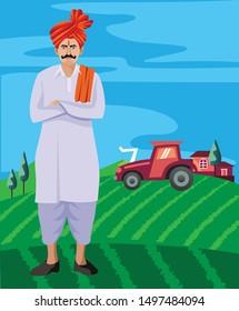 maharastrian man with feta and tilak standing in farm
