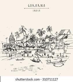 Mahashivaratri day in Gokarna, Karnataka, India. Boats floating on lake water. Travel postcard, poster or coloring book page with Gokarna, India hand lettering. Vector