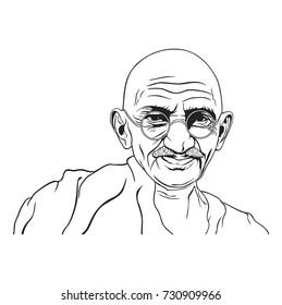 Mahatma Gandhi Black and White Portrait Illustration, Non-Violence Day, Vector Design. October 9, 2017.