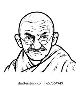 Mahatma Gandhi Hand Drawing outline. Mahatma Gandhi vector illustration