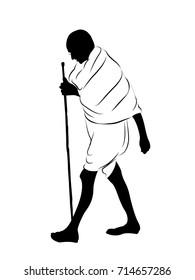 Mahatma Gandhi. India's father of the nation. M K Gandhi vector art