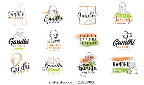 Mahatma Gandhi Jayanti - Birthday. 2nd of October. Indian national hero. Vector typography or logo design set.