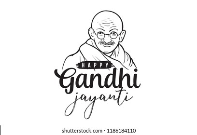 Mahatma Gandhi Jayanti - Birthday. 2nd of October. Indian national hero. Vector typography or logo design.