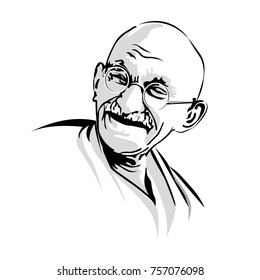 Mahatma Gandhi Laughing.Gandhi.India's father of the nation. Mahatma Gandhi vector image, leader of the Indian independence movement against British rule. Most popular person in the world.