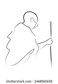 Mahatma Gandhi line art vector illustration