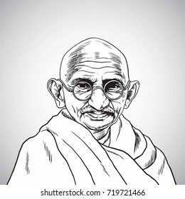 Mahatma Gandhi. Vector Portrait Drawing. Hand Drawn Illustration. September 22, 2017