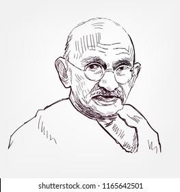 Mahatma Gandhi vector sketch portrait