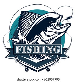 Mahi fishing on white logo illustration. Vector illustration can be used for creating logo and emblem for fishing clubs, prints, web and crafts.
