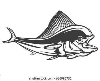 Mahi fishing on white logo illustration. Dolphin fish. Mahi-mahi. Vector illustration can be used for creating logo and emblem for fishing clubs, prints, web and other crafts.