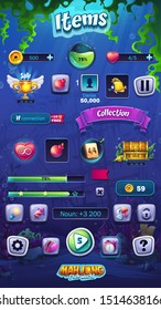 Mahjong fish world - vector illustration mobile format items set. Bright image to create original video or web games, graphic design, screen savers