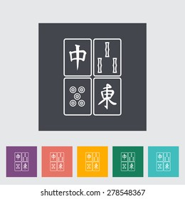 Mahjong. Single flat icon on the button. Vector illustration.