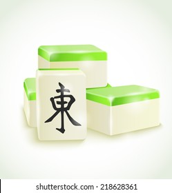Mahjong tile on white background . Vector illustration.