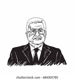 Mahmoud Abbas, President of Palestine, Black and White Vector Design Illustration, July 26, 2017.