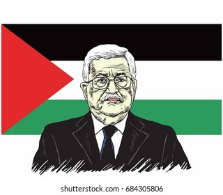 Mahmoud Abbas, President of Palestine with Palestine Flag Background, Vector Design Illustration, July 26, 2017.