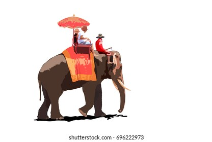 Mahout with Elephant for Tourists on an ride tour of the ancient city.Vector,Illustration