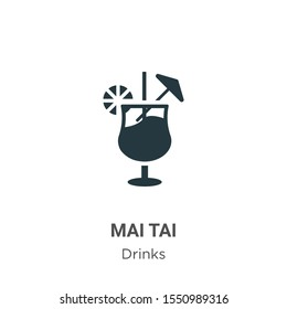 Mai tai vector icon on white background. Flat vector mai tai icon symbol sign from modern drinks collection for mobile concept and web apps design.