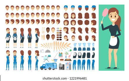 Maid character in uniform set or kit for animation with various views, hairstyle, emotion, pose and gesture. Different cleaning equipment. Isolated flat vector illustration