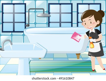 Maid cleaning bathtub in the bathroom illustration
