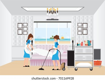 Maid cleaning hotel room with housekeeping trolley with bed clothes linen in cart and vacuum cleaner, hotel room service, vector illustration.