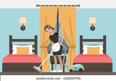 Maid cleaning in hotel room. Service for hotels.