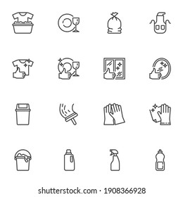 Maid and cleaning service line icons set, outline vector symbol collection, linear style pictogram pack. Signs logo illustration. Set includes icons - gloves, detergent spray, window cleaning, laundry
