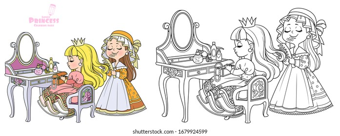 Maid combing the hair of a princess sitting behind dressing table outlined and color for coloring book