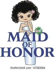 Maid of Honor with Black Curly Hair, Caucasian