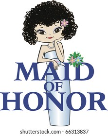 Maid of Honor with Curly Black Hair and Asian Features