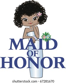 Maid of Honor with Curly Black Hair, Mocha Skin, Asian Features