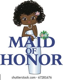 Maid of Honor with Curly Black Hair, Dark Skin