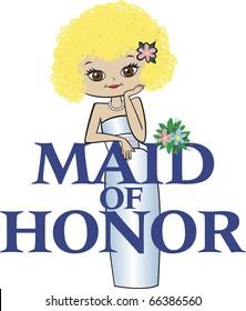 Maid of Honor Curly Blonde Hair Brown Eyes